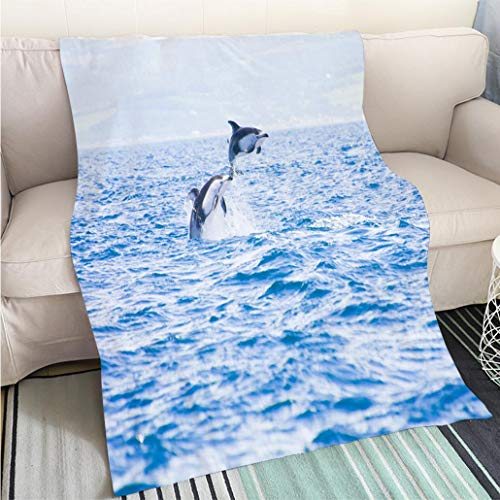Super Soft Flannel Thicken Blanket Pacific White Sided Dolphins Jumping Perfect for Couch Sofa or Bed Cool Quilt