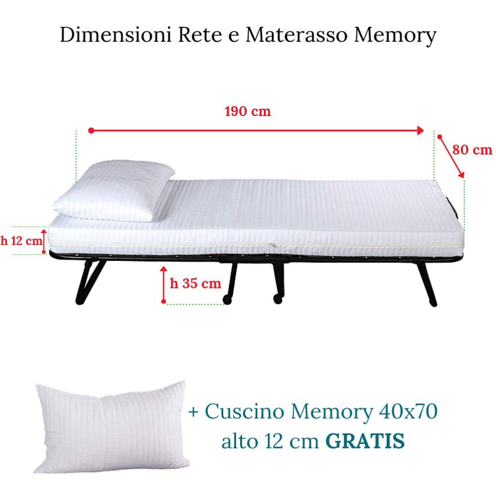 evergreenweb - Cama Plegable con colchón Individual viscoelástico 80 X 190 y viscoelástico GRATIS, somier de láminas de madera de emergencia extraíble para ...