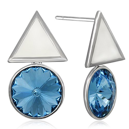 JOLICE Blue Drop Earrings Swarovski Elements Crystal S925 Sterling Silver White Stoving Varnish Triangle