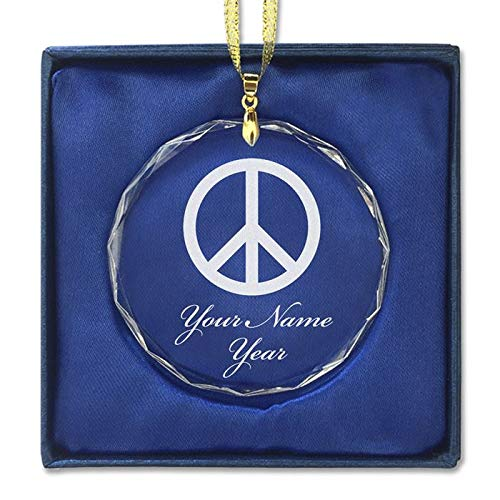 LaserGram Christmas Ornament, Peace Sign, Personalized Engraving Included (Round Shape)