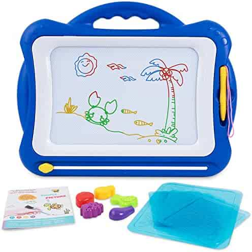 SGILE Magnetic Drawing Board Toy for Kids, Large Doodle Board Writing Painting Sketch Pad, Navy