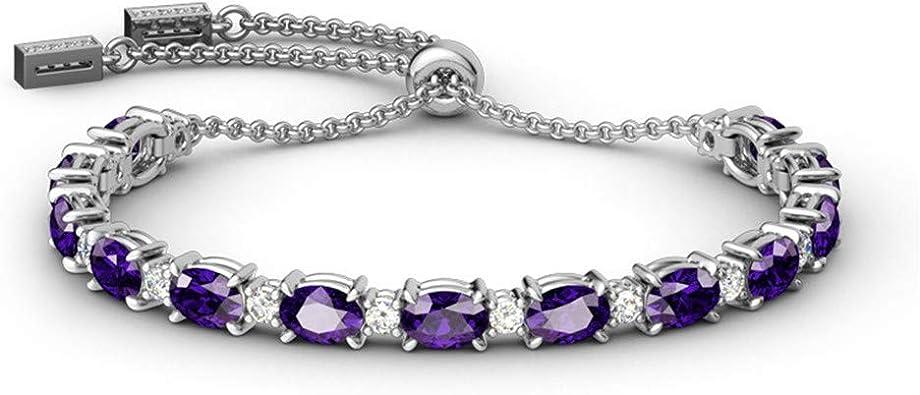 Amethyst Metal Adjustable Bracelet