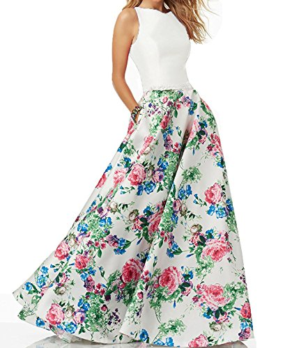 Womens Floral Prom Dresses 2019 Long Beaded Formal Evening Gowns with Pockets Size 2 -