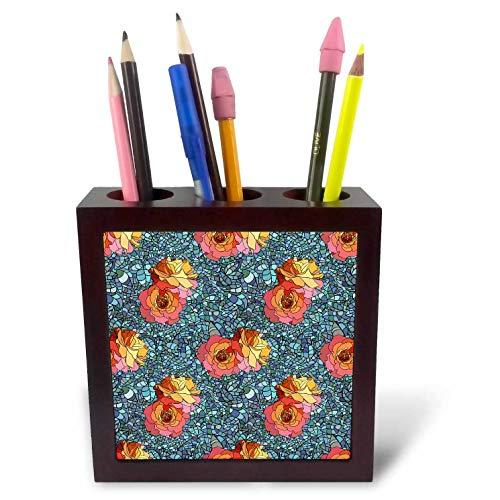 3dRose Alexis Design - Pattern Floral - Impressive Pattern or red Roses on Blue Mosaic Background - 5 inch Tile Pen Holder (ph_300060_1) -