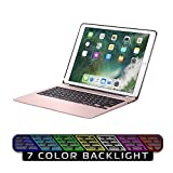 Keyboard Case for iPad Pro 12.9,7 Colors Backlight Slim Aluminum Wireless Keyboard with Protective Translucent Silicone Keyboard Cover and 5600 mAh Power Bank for iPad Pro 12.9 inch(12.9 Rose Gold)
