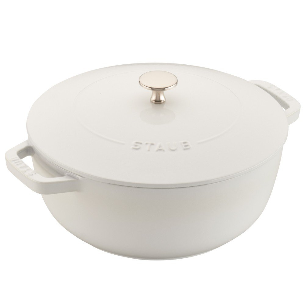 "Staub Cast Iron 9 3/8""- 3 3/4qt Essential French Oven (White)"