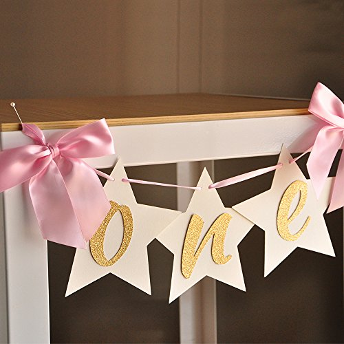 twinkle-twinkle-little-star-first-birthday-one-highchair-banner-pink-and-gold-birthday-party-decorat