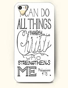 iPhone 5 5S Case OOFIT Phone Hard Case ** NEW ** Case with Design I Can Do All Things Through Christ Who Strengthens Me Philippians 4:13- Bible Verses - Case for Apple iPhone 5/5s