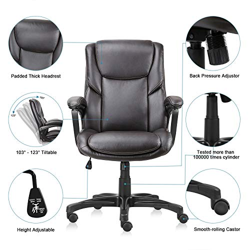 Executive Office Chair with Brown Leather, Swivel Desk Chair for Home and Office, Ergonomic Computer Chair with Adjustable seat by Becozier (Image #4)