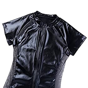 - 51bsGSVo4IL - CHICTRY Men's Wet Look Black Leather Bodysuit Catsuit Mesh Splice Clubwear Costumes