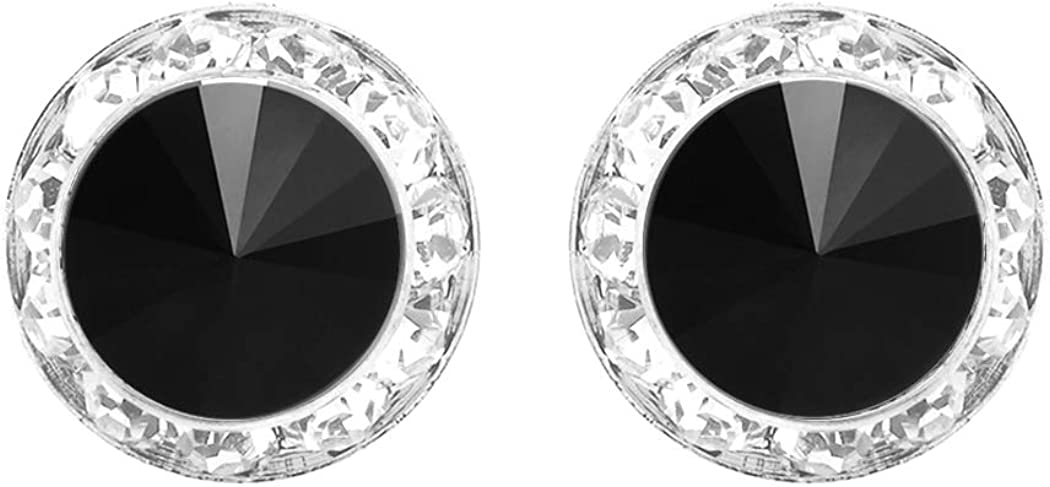 Rosemarie Collections Women's Hypoallergenic Post Back Halo Earrings Made with Swarovski Crystals, 15mm (Jet Black/Sliver Tone) 51bsGZYuMtL