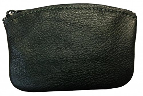 North Star Men's Large Leather Zippered Coin Pouch Change Holder 5 X 3.5 X 0.25 Inches Green