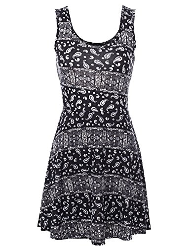 [Sleeveless Fit and Flare Style Cut Back Geo Printed Short Dresses,025-Style 2,Large] (Vintage Paisley Print Costumes)