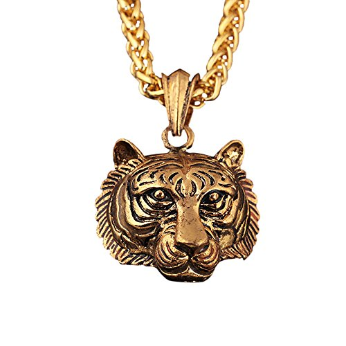 - Gbell Gold Silver Men Tiger Head Pendant Necklace Charm Jewelry Statement Gift - Neck Chain Luminous Hip Hop Necklace Glow In The Dark,70 CM