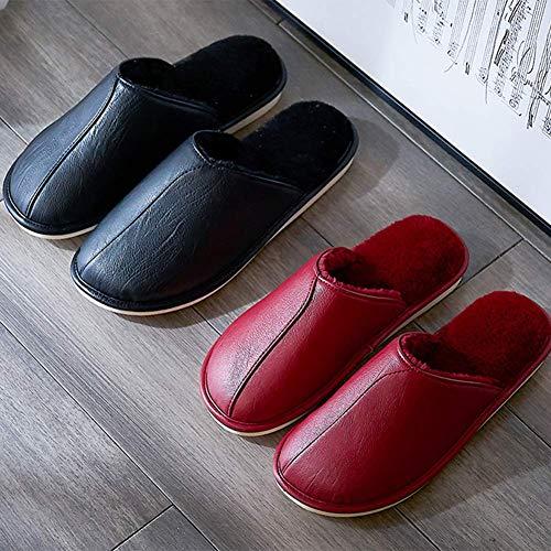 Chaussures Red Confortable Unisexe SFHK Garder Accueil Peluche Antidérapant Chaud Coton Intérieur Hiver Doux Chaussons Yqxwx7SO