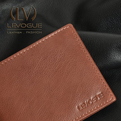 Men for Nappa Mens Blocking Tan Wallet Slim Genuine RFID Bifold Leather Handmade Wallet O0qnpC