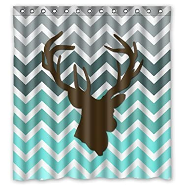 Futefew Personalized Bathroom Decor Chevron Deer Head Pattern Shower Curtain 60  X 72 -waterproof Polyester Fabric Shower Curtain Super Soft -Bath Curtain Great for Holiday Gifts-Father Day-birthday Gift-Mother's Day