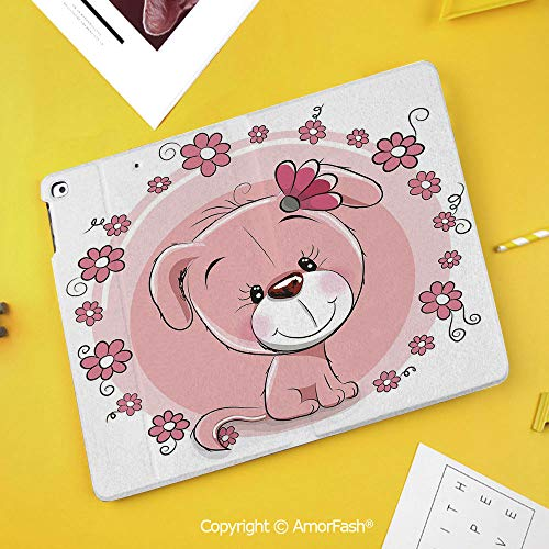 PU Flip Case for Samsung Galaxy Smart TAB S4 10.5 2018 T830 T835 Cover,Dog,Cute Little Puppy with Daisy Flowers Cheerful Adorable Pet Girls Room Decor,Light Pink Coral White