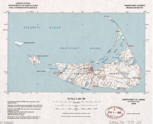 County Massachusetts Map - 1979 Map Nantucket County, Massachusetts - Size: 20x24 - Ready to Frame - Massachusetts | Nantucket