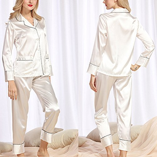 Zhhlaixing Ladies Silk Satin Pajama Set Lace Pyjama Set Luxury Silk Sleepwear Nightgown Dress Woman Bathrobe Pajamas 2120# White