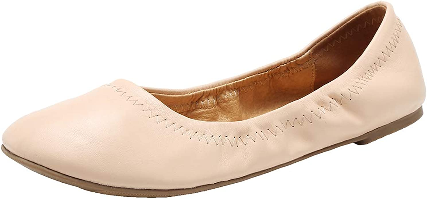 Alfalfa Plant 2019 Ballet Cut Out Women Leather Shoes Woman Flat Flexible Round Toe Fashion Loafer,Beige,7