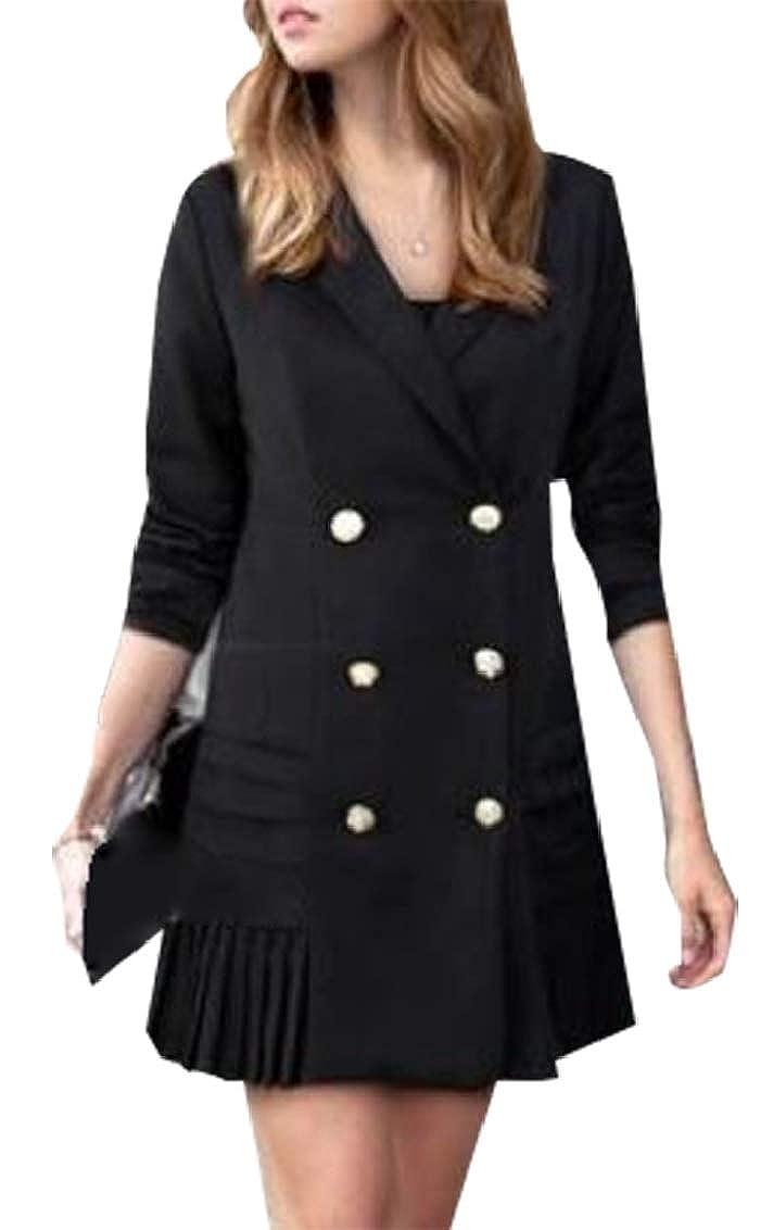 Yayu Womens Suit Blazer Jacket Long Sleeve Double Breasted Lightweight Work Office Hem Blazer Jacket