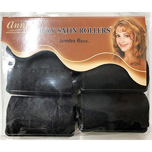 Annie Silky Satin Foam Rollers #1240, 6 Count Black Jumbo 1-