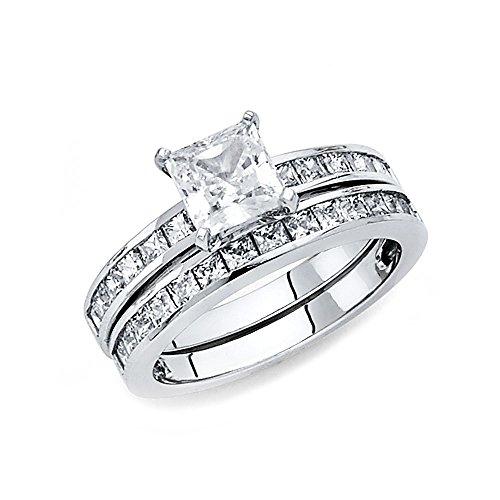 Ioka Jewelry - 14K White Solid Gold 1 Ct. Princess Cut Cubic Zirconia CZ Wedding Engagement Ring Set - size 7.5 by Ioka Jewelry