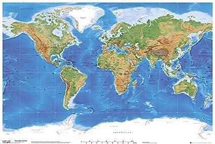 Mapa Físico Del Mundo.Gb Eye Ltd Planetary Visions Mapa Fisico Del Mundo Maxi