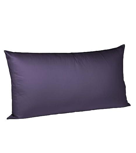 Fleuresse Colours - Funda de algodón con cremallera para almohada (40 x 80 cm), color lila