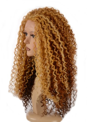 Auburn Blonde Mix Long Spiral Afro Curl Wig | Lace Front Queen B Wig | In the style of - Style Beyonce