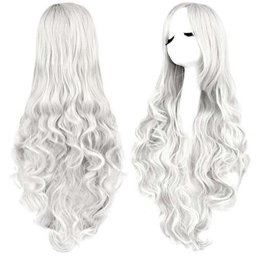 Curly Hair Wig Costumes (Rbenxia Curly Cosplay Wig Long Hair Heat Resistant Spiral Costume Wigs Anime Fashion Wavy Curly Cosplay Daily Party Silver 32