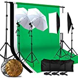 CY 2.6M x 3M/8.5ft x 10ft Background Support System and 4 x 85W 5500K Bulbs, Umbrellas Softbox Continuous Lighting Kit for Photo Studio Product,Portrait and Video Shoot Photography