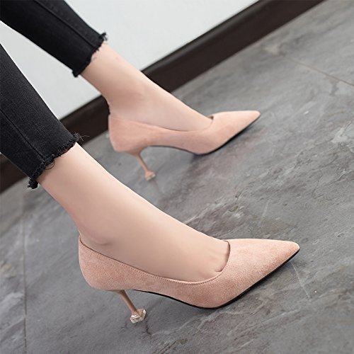Jqdyl heels Heels Mouth Autumn Heeled Pink Black Shoes 7cm Single Female High With Pointed High Shoes Shallow A Shoes High With r5qCrwp