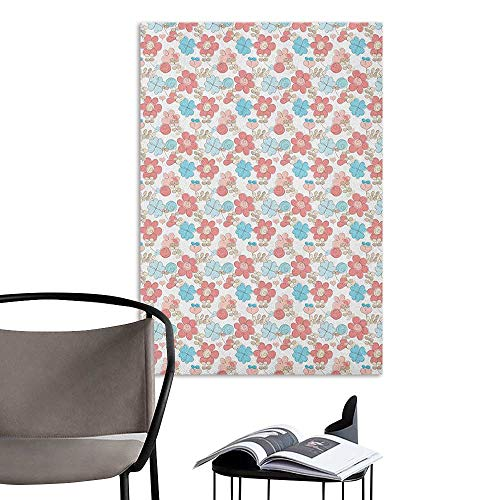 Canvas Print Wall Art Doodle Pastel Colored Hearts and Flowers Abstract Illustration of Nature Blooms Coral Pale Blue Beige Living Room Wall W32 x H48