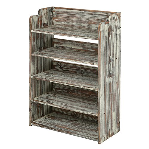 MyGift 5 Tier Rustic Torched Wood Entryway Shoe Rack Storage Shelves, Closet Organizer - Storage Shoe Mudroom