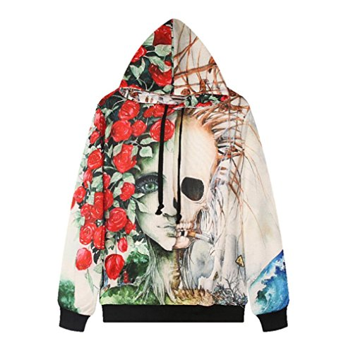 Compia Halloween Kangaroo Women Men Skeleton Hoodie Pullover Tops Sweatshirt (S/M) (Halloween Cubby Tags)