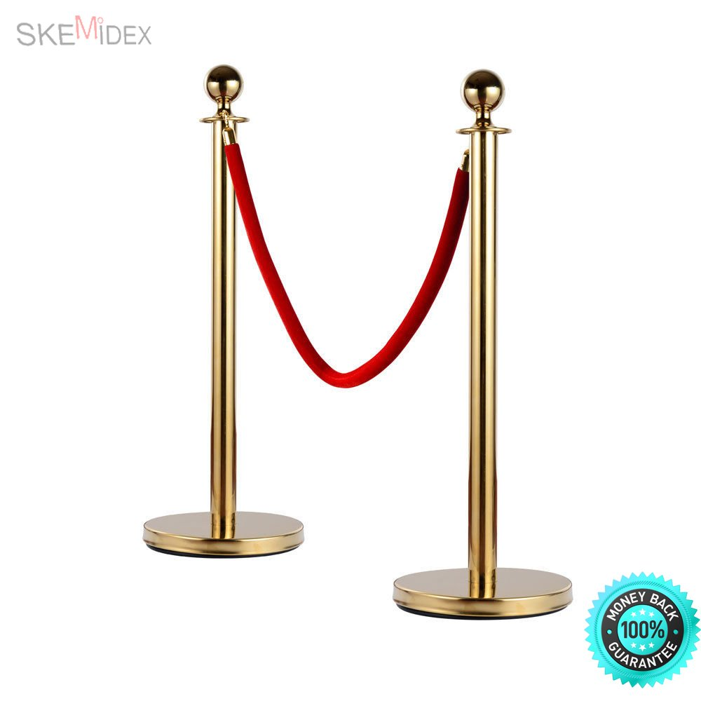 SKEMiDEX--- 4 Pcs Velvet Rope Stanchion Gold Color Plated Post Crowd Control Queue Pole New and. With high-class stainless steel, metal chassis and flannel materials, the items included .