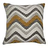 McAlister Navajo Extra-Large Filled Throw Pillow | Soft Multi-Texture Chenille, Multicolored Zig Zag Chevron Toss Cushion | Yellow, Grey & White 24x24'' | Modern Moroccan Contemporary Décor