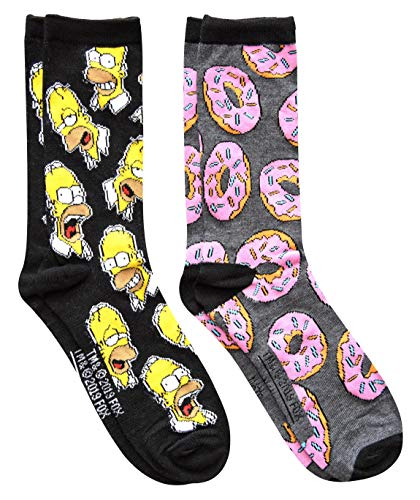 Hyp The Simpsons Homer Donuts Men's Crew Socks 2 Pair Pack Shoe Size 6-12