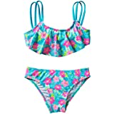 JIEYA Ruffle Flower Print 2 Piece Swimsuit Set for Girls
