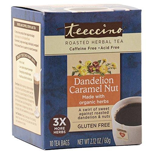 Teeccino Dandelion Caramel Nut Chicory Herbal Tea Bags, Gluten Free, Acid and Caffeine Free, 10 Look on