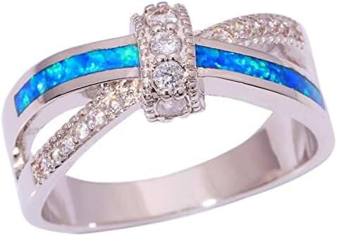 CiNily Silver Blue Fire Opal Zircon for Women Jewelry Gemstone Ring Size 5-12