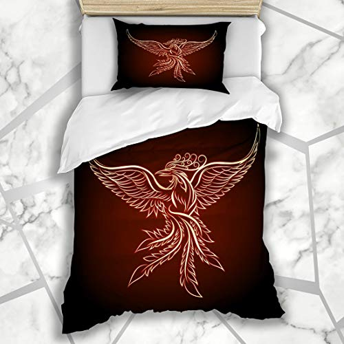 Ahawoso Duvet Cover Sets Twin 68X86 Spreading Red Bird Phoenix Emblem Drawn Tattoo Vintage Orange Fire Gothic Royal Ornate Baroque Design Microfiber Bedding with 1 Pillow - Ornate Light Six Cast