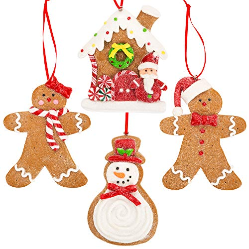 Gingerbread Christmas Ornaments - Man Boy Girl Gingerbread House Snowman Cookie Rustic Christmas Decorations Set of 4 - Claydough Christmas Tree Decorations - Christmas Tree Ornaments With Gift Box (Gingerbread Topper Christmas Man Tree)