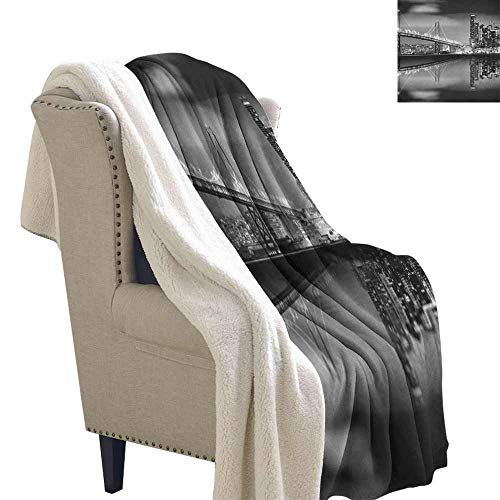 Willsd Black and White Fleece Blanket San Francisco Bay Bridge Metropolis Panorama View with Skyscrapers Reversible Blanket for Bed and Couch Black Grey White W59 x L78
