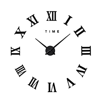 alxcio grosse horloge murale acrylique 3d miroir sticker les