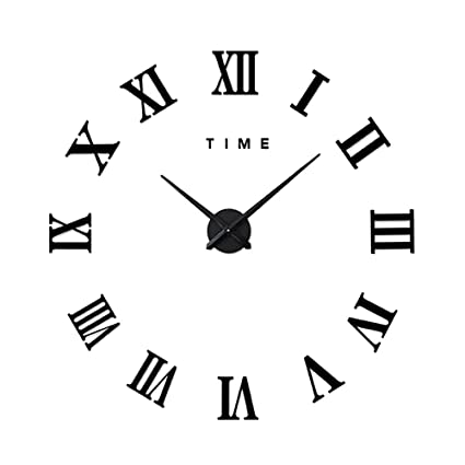 Amazoncom Cideros Large Wall Clock 3d Acrylic Mirror Sticker Roman