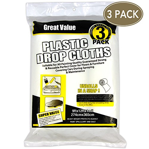 Heavy Duty Multi use 3 Rolls 9x12 inch,Paint Roller,Drop Cloth,Plastic Drop Cloth,Work for Paint Roller,Paint Drop Cloth,1MIL Clear Plastic Drop Cloth,Drop Cloths for Painting, Home Repair Tools by Blues