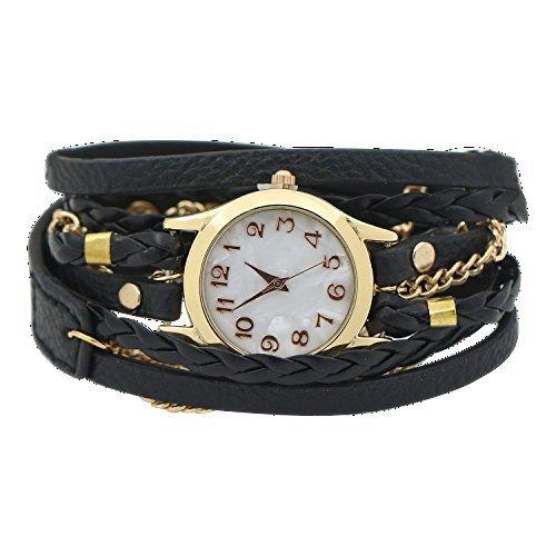 Women Weave Wrap Leather Bracelet Wrist Watch Black - 1